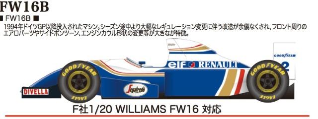 スタジオ27 1/20 トランスキット ウィリアムズ FW16B 1994 (フジミ対応) TK2028R
