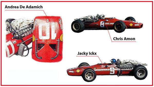 タメオ 1/43 メタルキット フェラーリ 312 F1-68 南アフリカGP  1968 J.イクス/C.エイモン/A.de.アダミッチ SLK131