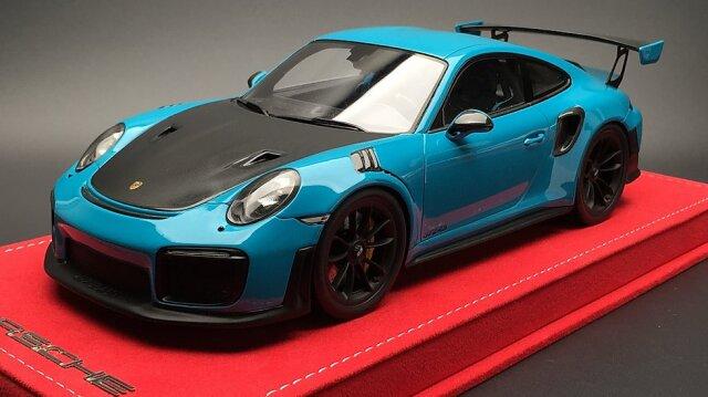 [予約] Buonarte特注スパーク 1/18 ポルシェ 911 GT2 RS マイアミブルー/カーボンボンネット 18WS001