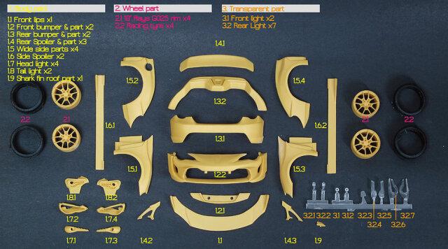 ZoomOn 1/24 トランスキット スバル BRZ トヨタ 86 ワイドボディパーツ Z055