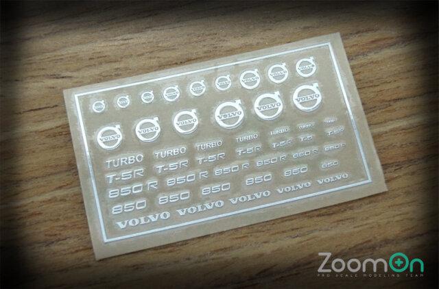 ZoomOn 1/24 1/43 1/64 ボルボ メタルロゴステッカー ZD016