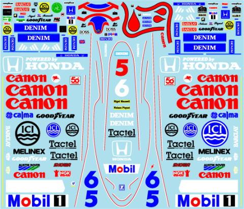 ミュージアムコレクション 1/20 ウィリアムズ FW11 & レーシングスーツ フルスポンサーデカール タミヤ対応