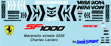 ミュージアムコレクション 1/43 フェラーリ SF1000 バルセロナテスト MISSON WINNOW デカール ルックスマート対応 MC-D1008