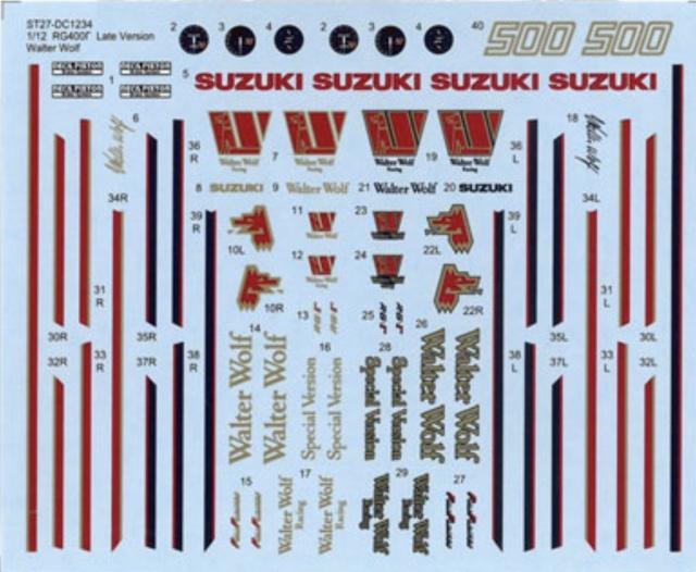 スタジオ27 1/12 スズキ RG400Γ ウォルターウルフ 後期型 ドレスアップデカール ハセガワ対応 DC1234