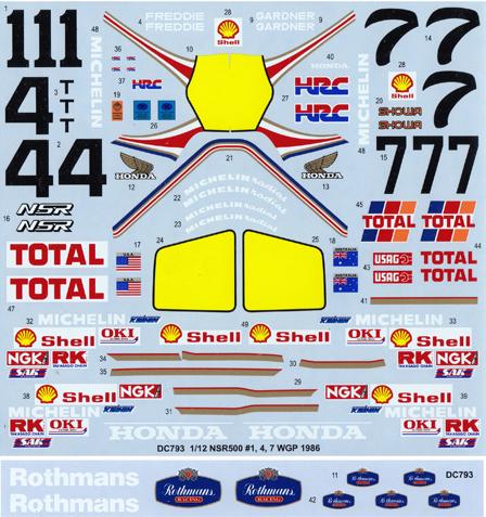 スタジオ27 1/12 ホンダ NSR 500 WGP 1986 ロスマンズ No.1/4/7 フルスポンサーデカール (タミヤ対応) DC793