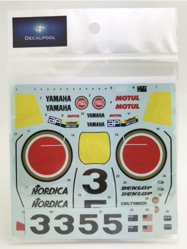 [予約] DecalPool 1/12 ヤマハ YZR500 ラッキーストライク WGP 1989 No.3/5 フルスポンサーデカール ハセガワ対応 DP063
