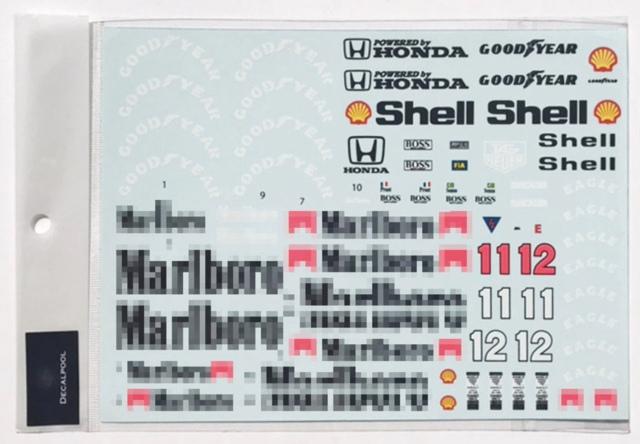 [予約] DecalPool 1/12 マクラーレン MP4/4 1988 フルスポンサーデカール DP095