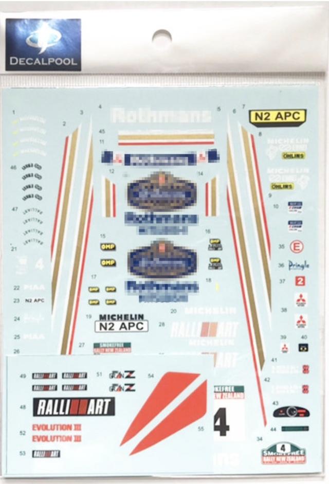 [予約] DecalPool 1/24 ミツビシ ランサー Evo.3 WRC ニュージーランド 1996 No.4 フルスポンサーデカール ハセガワ対応 DP183