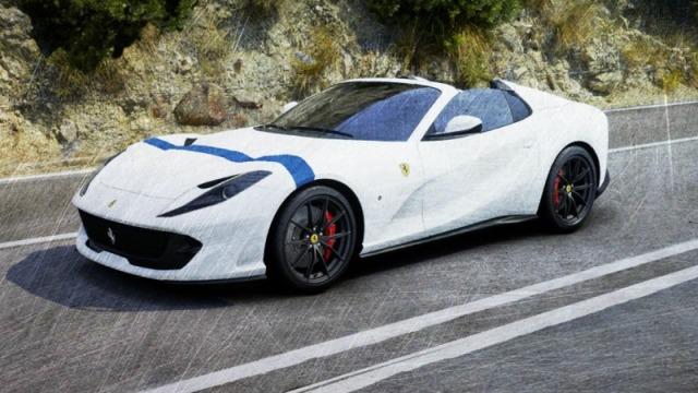[予約] ルックスマート 1/43 フェラーリ 812 GTS イタリアンホワイト ブルーストライプ LS516H