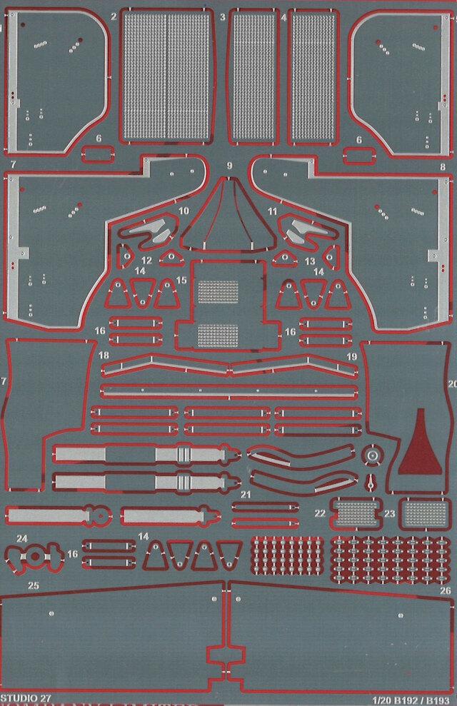 スタジオ27 1/20 ベネトン B192 B193 ディティールアップパーツ タミヤ対応 FP2046