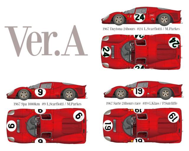モデルファクトリーヒロ 1/43 フルディティールメタルキット フェラーリ 330 P4 Ver.A デイトナ 24h 1967 No.24 / スパ 1000km 1967 No.9 / ルマン 1967 No.19 MFH-K791