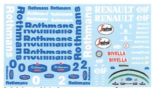 [予約] ミュージアムコレクション 1/20 ウィリアムズ FW16 ロスマンズ フルスポンサーデカール フジミ対応 MC-D832