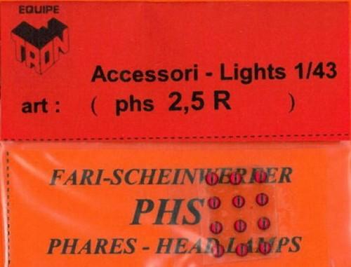 トロン ライトレンズ レッド 丸形 2,5mm 12個入り phs02_5R