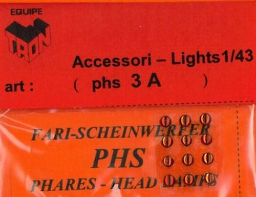 トロン ライトレンズ オレンジ 丸形 3mm 12個入り phs03A