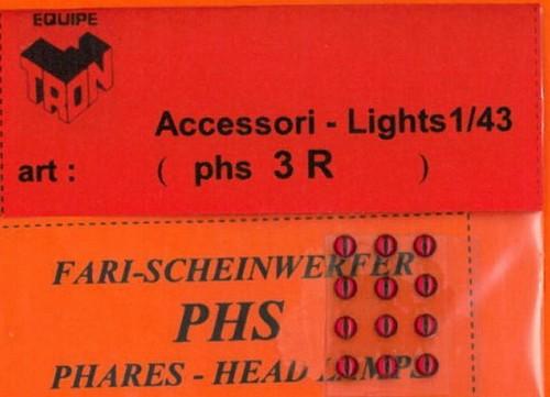 トロン ライトレンズ レッド 丸形 3mm 12個入り phs03R