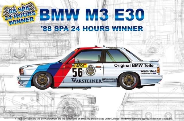 プラッツ/nunu 1/24 プラモデル BMW M3 E30 Gr.A ワルシュタイナー スパ 24h 1988 No.56 ウィナー / No.57 PN24017