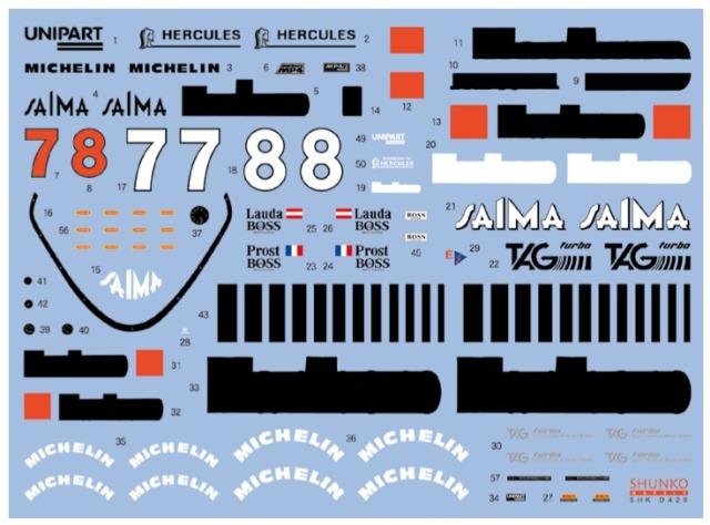 シュンコーモデル 1/20 マクラーレン MP4/2 1984 フルスポンサーデカール (アオシマ/BEEMAX対応) SHK-D429