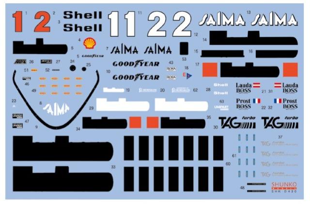 シュンコーモデル 1/20 マクラーレン MP4/2B 1985 フルスポンサーデカール (アオシマ/BEEMAX対応) SHK-D430