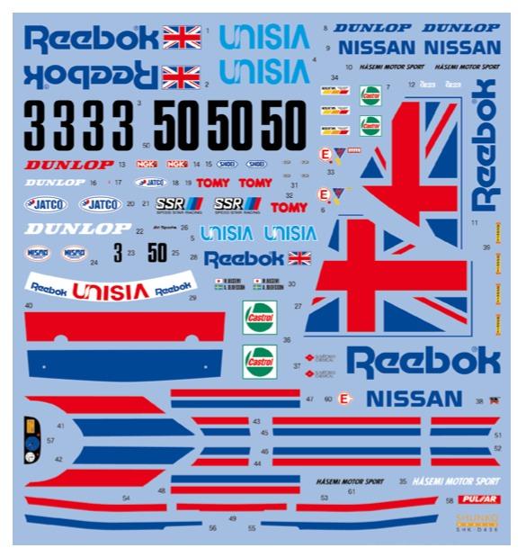 シュンコーモデル 1/24 リーボック スカイライン R32 GT-R 1991 フルスポンサーデカール タミヤ対応 SKH-D436