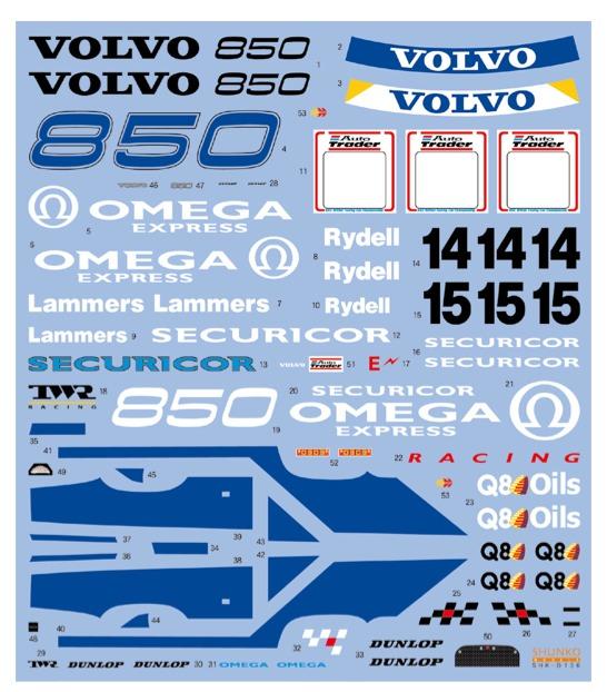 [予約] シュンコーモデル 1/24 ボルボ 850 エステート 1994  スルスポンサーデカール タミヤ対応 SHK-D136