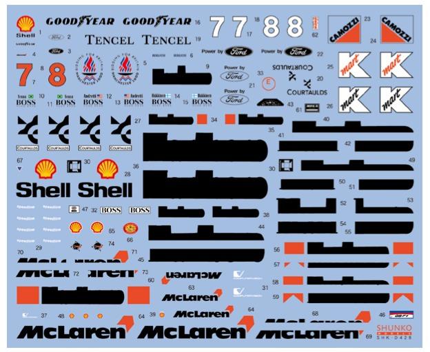 シュンコーモデル 1/20 マクラーレン MP4/8 1993 フルスポンサーデカール (タミヤ対応) SHK-D428