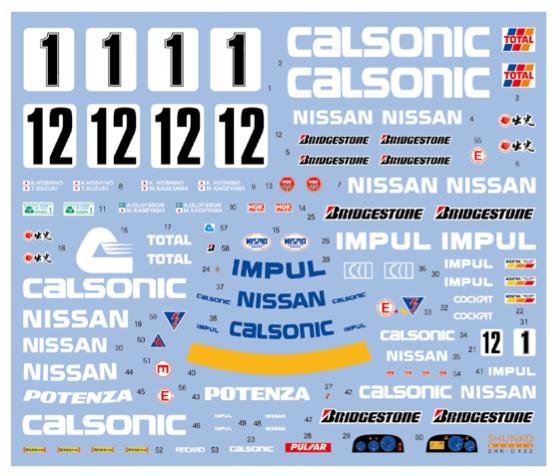[予約] シュンコーモデル 1/24 カルソニック ニッサン スカイライン GT-R R32 1991 1992 1993 スルスポンサーデカール タミヤ対応 SHK-D1432