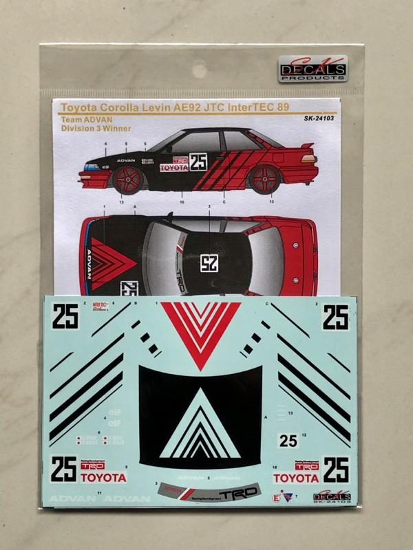 SK Decal 1/24 トヨタ カローラ レビン AE92 JTC インターテック 1989 No.25 フルスポンサーデカール (Beemax対応) SK24103