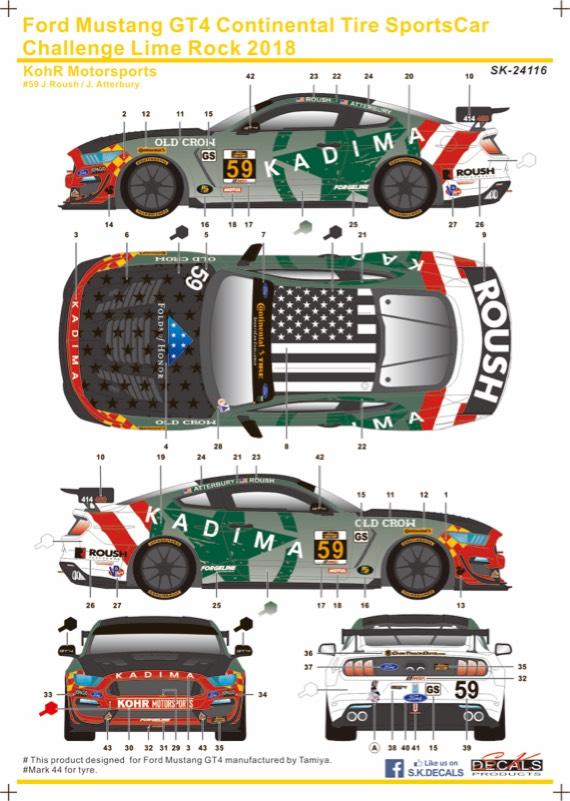 SK Decal 1/24 フォード マスタング GT4 コンチネンタルタイヤ スポーツカーチャレンジ ライムロック 2018 No.59 フルスポンサーデカール タミヤ対応 SK24116