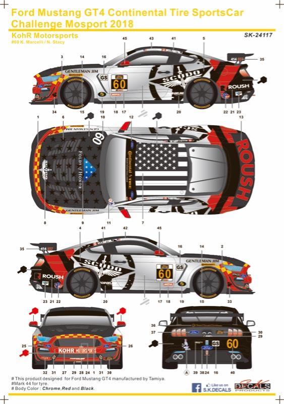 SK Decal 1/24 フォード マスタング GT4 コンチネンタルタイヤ スポーツカーチャレンジ モスポート 2018 No.60 フルスポンサーデカール タミヤ対応 SK24117