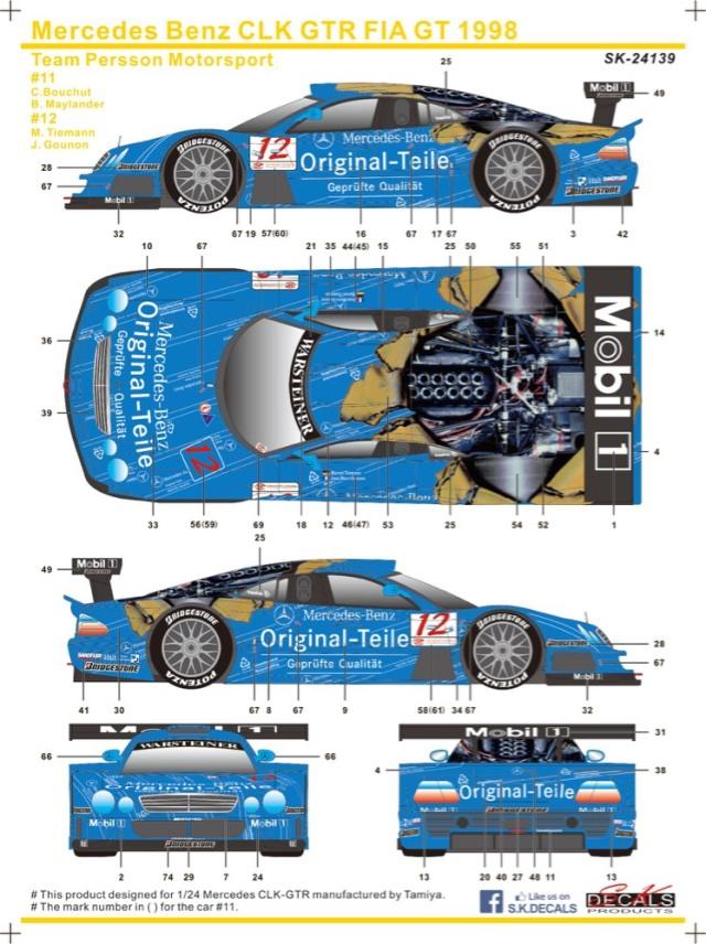 SK Decal 1/24 メルセデスベンツ CLK-GTR FIA GT Original-Teile 1998 No.11/12 フルスポンサーデカール  SK24139