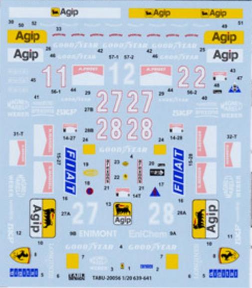 タブデザイン 1/20 フェラーリ 639 640 941 フルスポンサーデカール (タミヤ対応) TABU-20056