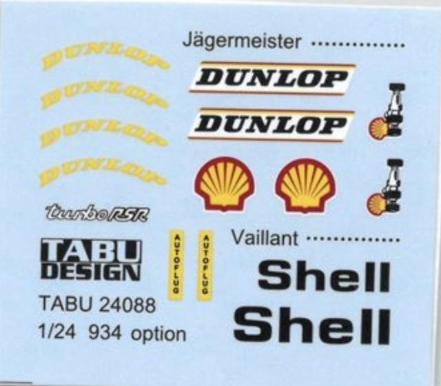 タブデザイン 1/24 ポルシェ 934 イェーガーマイスター/バリアント オプションデカール タミヤ対応 TABU-24088