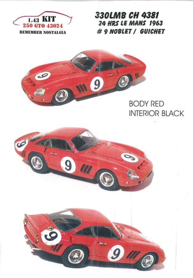 リメンバー ノスタルジア 1/43 レジンキット フェラーリ 330 LMB CH.4381 ルマン 1963 #9 43024
