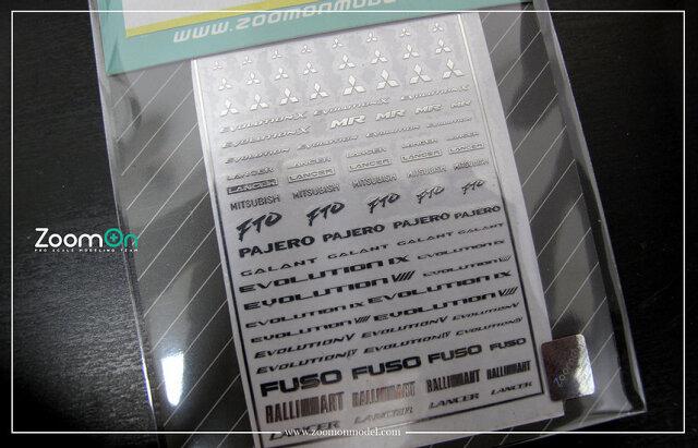 ZoomOn 1/24 1/43 1/64 ミツビシ メタルロゴステッカー ZD020