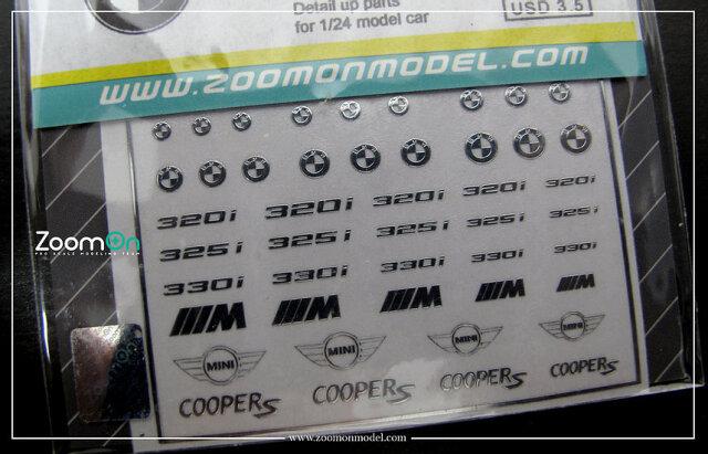 [予約] ZoomOn 1/24 1/43 1/64 BMW MINI メタルロゴステッカー ZD024