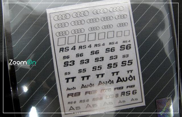 [予約] ZoomOn 1/24 1/43 1/64 アウディ メタルロゴステッカー ZD025