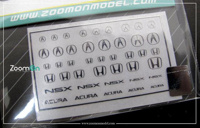 [予約] ZoomOn 1/24 1/43 1/64 ホンダ アキュラ メタルロゴステッカー ZD029
