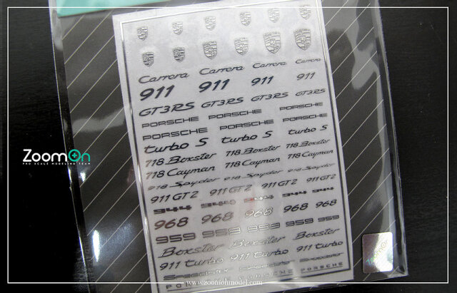 [予約] ZoomOn 1/24 1/43 1/64 ポルシェ メタルロゴステッカー ZD032