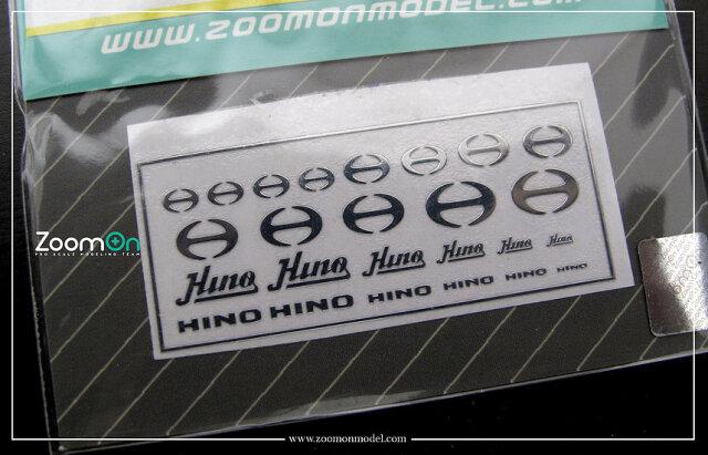 [予約] ZoomOn 1/24 1/43 1/64 ヒノ メタルロゴステッカー ZD038