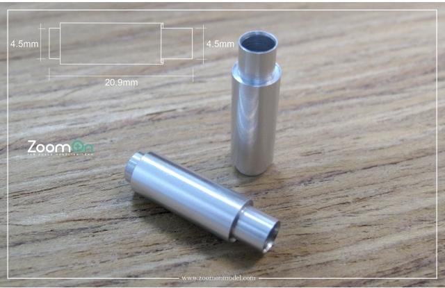 ZoomOn 1/24 エキゾーストパイプ Mサイズ 全長20.9mm 2本入り ZT016