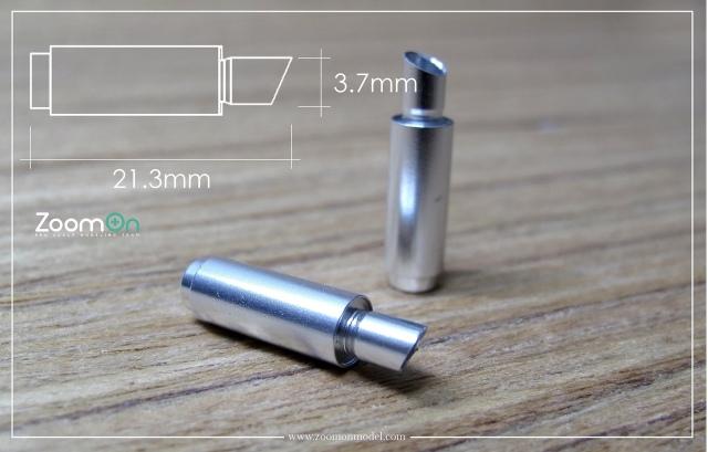 ZoomOn 1/24 5ジゲン エキゾーストパイプ Mサイズ 全長21.3mm 2本入り ZT020