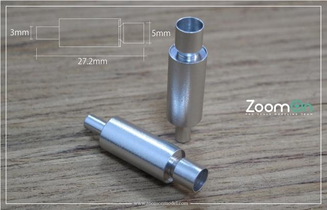 ZoomOn 1/24 HKS エキゾーストパイプ Lサイズ 全長27.23mm 2本入り ZT022