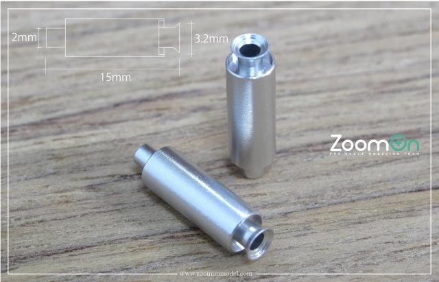 ZoomOn 1/24 ユニバーサル エキゾーストパイプ Sサイズ 全長15mm 2本入り ZT023