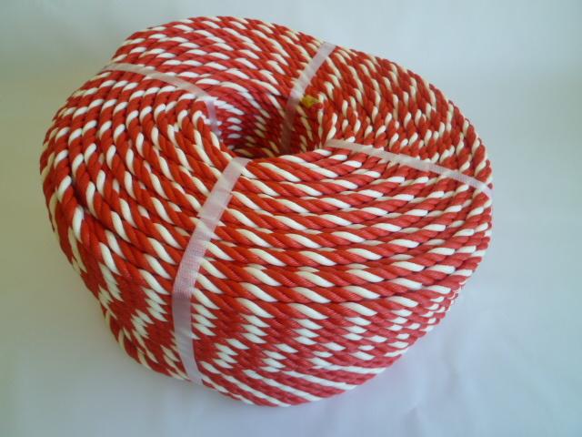 紅白ロープ ポリエチレン赤/白 直径6mm(切り売り)メートル単位 最大100M