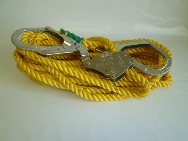 親綱ロープ ポリエステルロープ 黄 16mm×10m 緊張器付