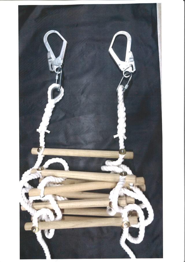 縄梯子(作業用)全長約3mタイプ  受注生産品 端末種類シンプル入り+カラビナ+大径フック型