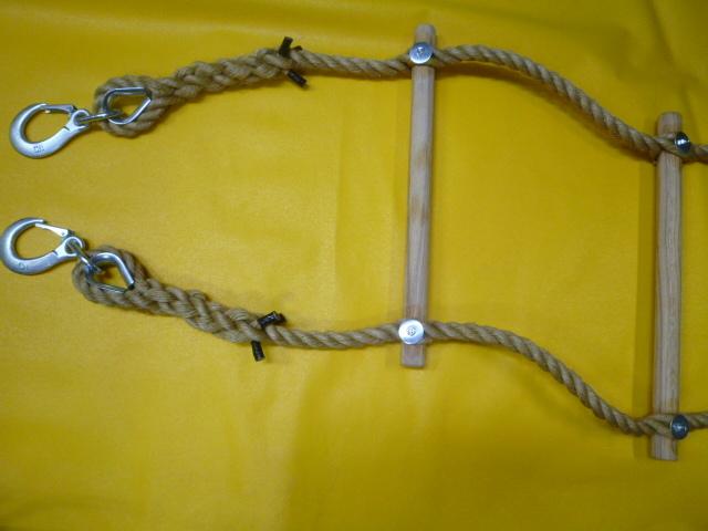 縄梯子(作業用)全長約3mタイプ  受注生産品 端末種類:重量バネ付フック