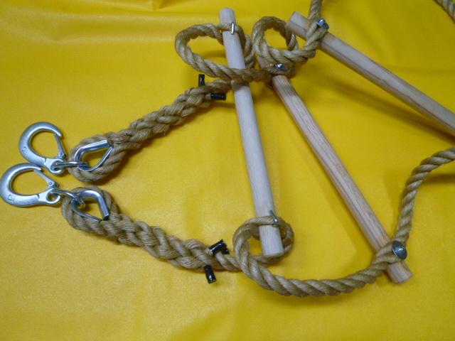 縄梯子(作業用)全長約5mタイプ  受注生産品 端末種類:重量バネ付フック