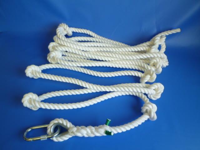 簡易避難(作業補助)ロープ (結び目あり) 片端カラビナ付