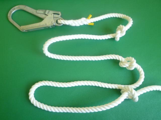 簡易避難(作業補助)ロープ (結び目あり) 大径フック付